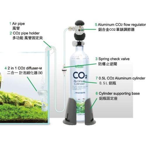ISTA 0.5 L CO2 Aluminum Cylinder Set Face up - Basic 2